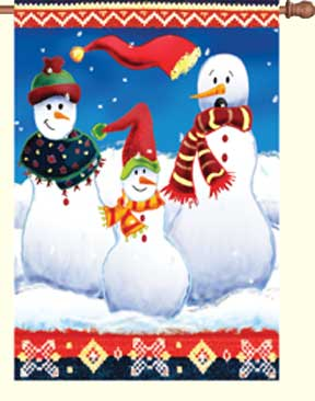 Bavarian Snowmen Decorative House Flag