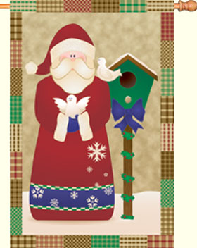 Santa and Doves Decorative House Flag