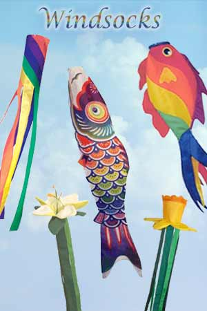 Fish windsocks, party windsocks, rainbow windsocks and flower windtails