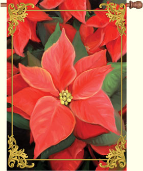 Elegant Poinsettias House Flag