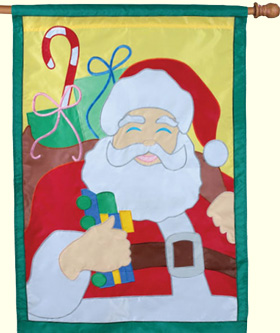 Saint Nick Appliqued House Flag