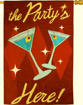 The Party is Here Decorative Flag