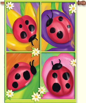 Four Ladybugs House Flag